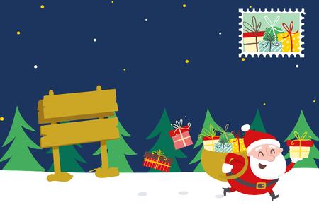 santa run bring gifts Stock Photo