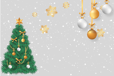 christmas tree and gold accesories christmas card