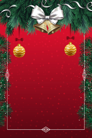 christmas card with silver bow Stock Photo