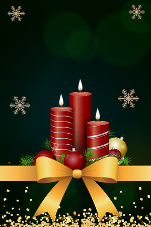 candle christmas card with bow