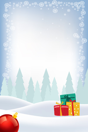 Blue Snow Background Christmas Greeting Card