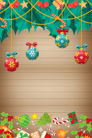 Christmas card with wood texture with ball ornaments