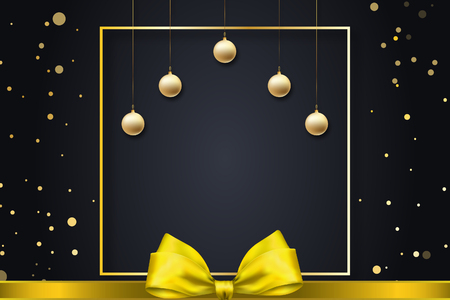 elegant christmas card with yellow ribbon