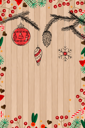 Christmas card with a background of wood texture and ornaments