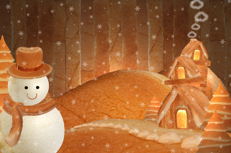 three story: big snowman three story house bread Background striped wooden walls in winter