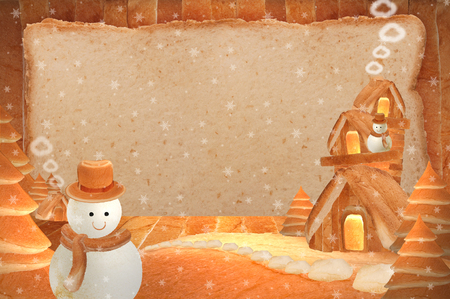 three story: Snowman three story house bread Background bread bright striped winter Stock Photo