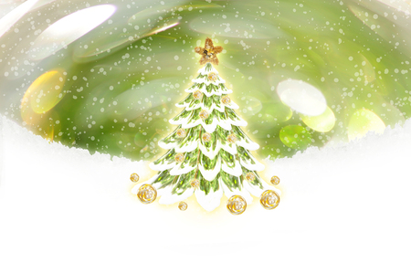 festive: Christmas tree with festive decoration Stock Photo