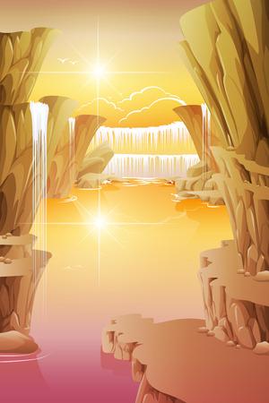 waterfall in forest: Waterfall rocks in the clear sky