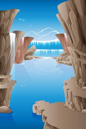 river rock: Waterfall rocks in the clear sky