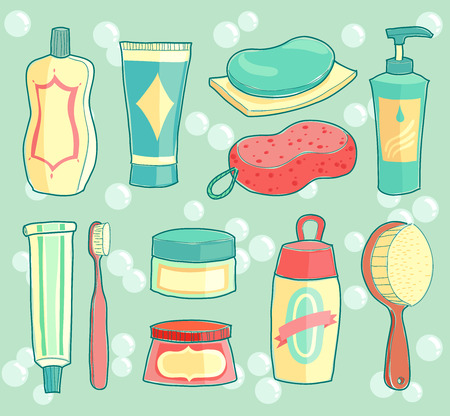 scrubs: illustration of bath room accessories with background