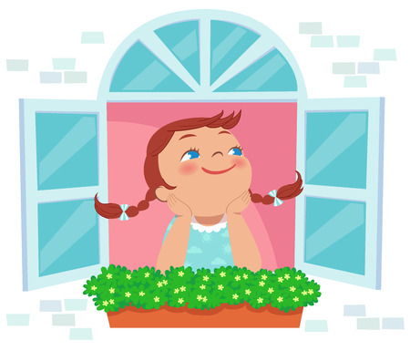 plant pot: illstration of little girl day dreaming at the window