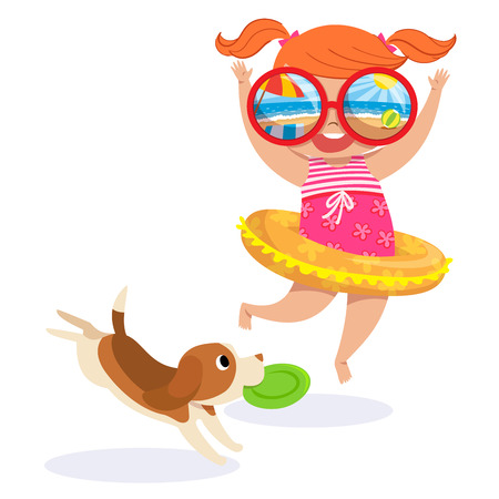 illustration of little girl in swimming suit and puppy at the beach