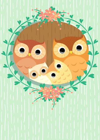 hollow: owls family in hollow of tree