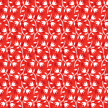 seemless floral pattern white flowers on red background