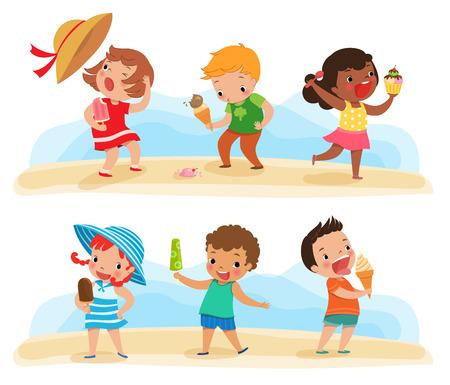 Illustration of children feeling happy with theirs ice cream 일러스트