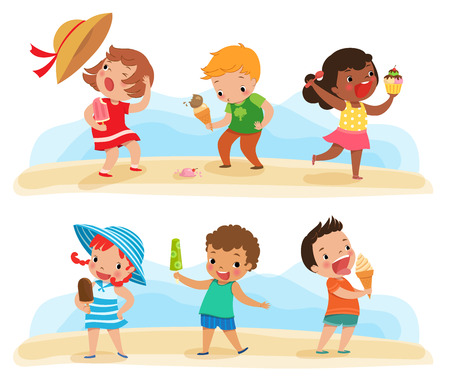 Illustration of children feeling happy with theirs ice cream Vettoriali