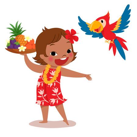 guacamaya caricatura: ilustración de una chica alegre isla tropical que sostiene la bandeja de fruta tropical y su loro