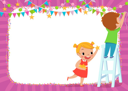 illustration of children decorating for a party