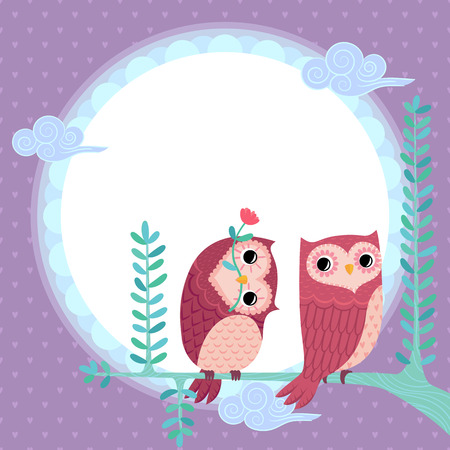 illustration of owls under the moonlight Illustration