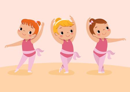 tanzen cartoon: Vektor-Illustration von drei Mädchen tanzen Ballett Illustration