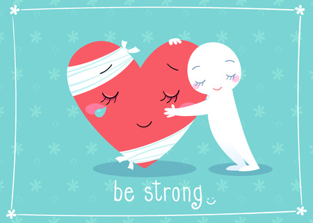 cheer up: illustration of giving hug to cheer up friend