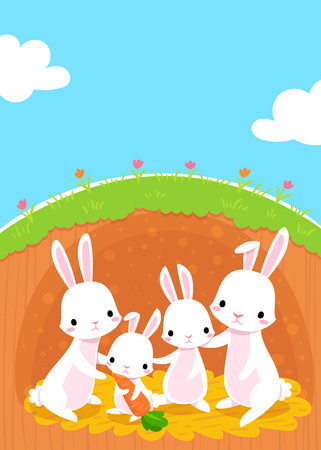 illustration of happy rabbits family in their sweet home
