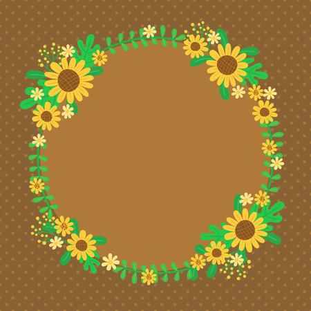 illustration of sunflower wreath perfect for card postcard invitation and more