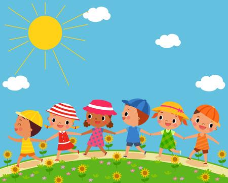 garden path: illustration of children walk on a beautiful summer day