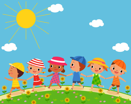 illustration of children walk on a beautiful summer day