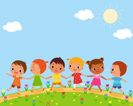 illustration of children walk on a beautiful spring day