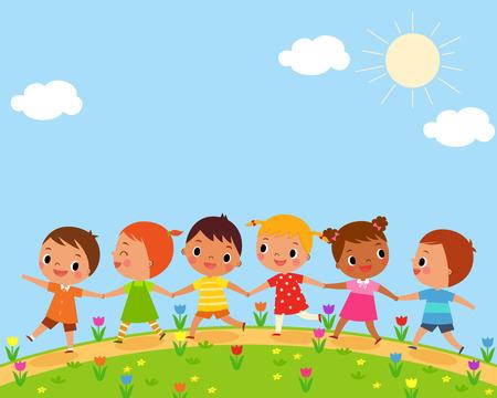 amistad: ilustración de los niños caminan en un hermoso día de primavera