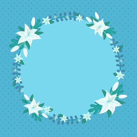 illustration of lily wreath perfect for card postcard invitation and more Ilustração