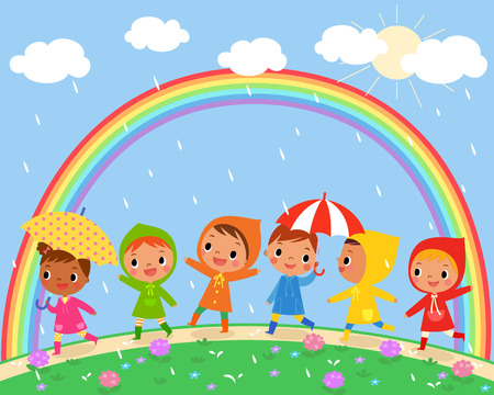 illustration of children walk on a rainy day with beautiful rainbow on the sky Çizim