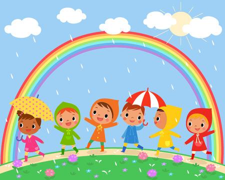 ilustración de los niños a pie en un día de lluvia con un hermoso arco iris en el cielo Vectores