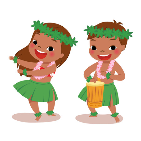 illustration of hawaiian boy playing drum and hawaiian girl hula dancing 일러스트