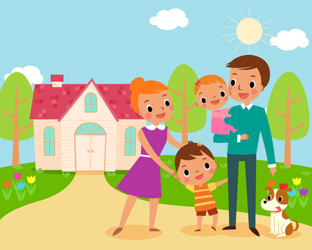 child and dog: illustration of happy family in front of their sweet home