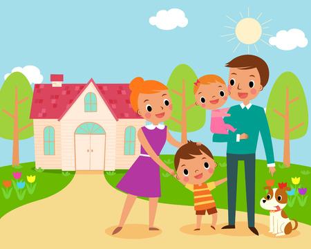 case colorate: illustrazione della famiglia felice davanti alla loro casa dolce