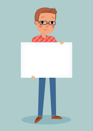 man holding a blank sign: illustration of smiling young man holding white blank sign