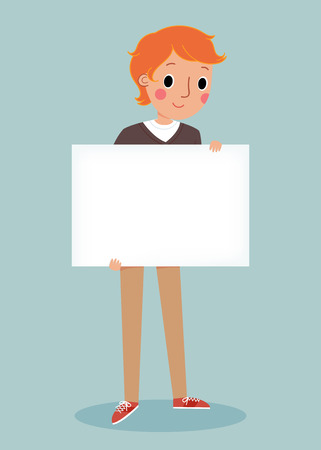 smiling young man: illustration of smiling young man holding white blank sign