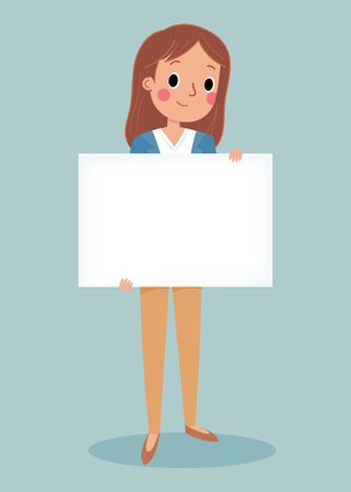 illustration of smiling young girl holding white blank sign