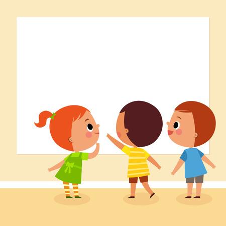 niños estudiando: ilustración imagen de los niños mirando tablero en blanco con espacio de copia