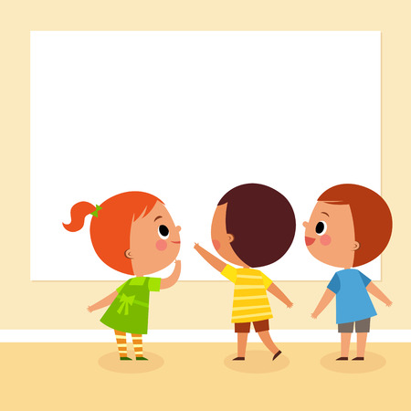 illustration image of children looking at blank board with copy space