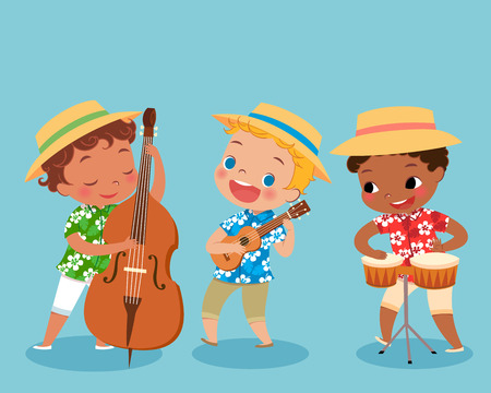 party friends: illustration of children playing music instrument in hawaii shirt. boy playing bongo drum. boy playing ukulele. boy playing double bass.