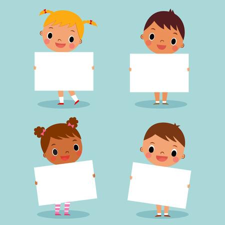 niños sosteniendo un cartel: ilustración imagen de los niños que llevan a cabo la muestra en blanco, con copia espacio Vectores