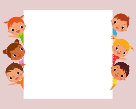 niños sosteniendo un cartel: ilustración imagen de niños que miran la muestra en blanco, con copia espacio