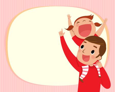 kids background: illustration of the girl riding piggy back on her dads shoulders