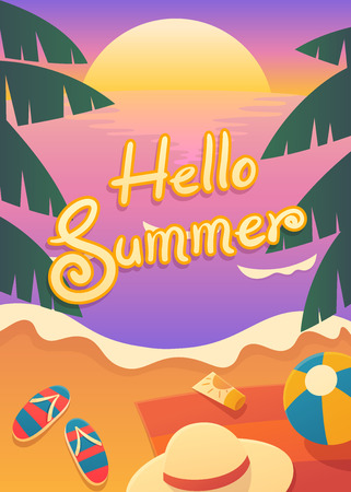 illustration of magic hour sunset time at the beach in summer time with text Hello summer