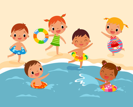 illustration of children with swim ring playing at the beach in summer time