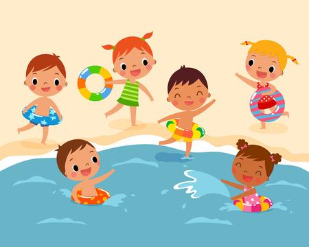 nadar: ilustración de los niños con anillo de la nadada que juegan en la playa en verano Vectores