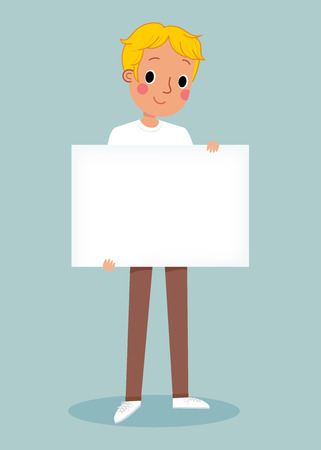 illustration of smiling young man holding white blank sign
